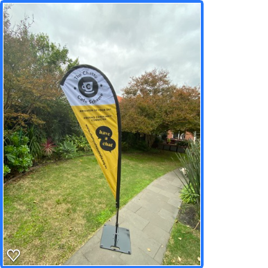 Chatty Cafe Teardrop Banner -great for Community Markets to have a Table